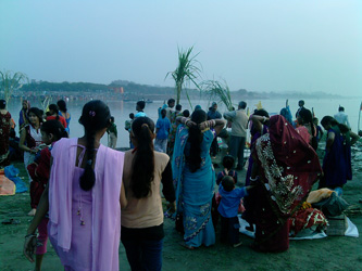 Chat Pooja from Sonia Vihar Yamuna Ghat